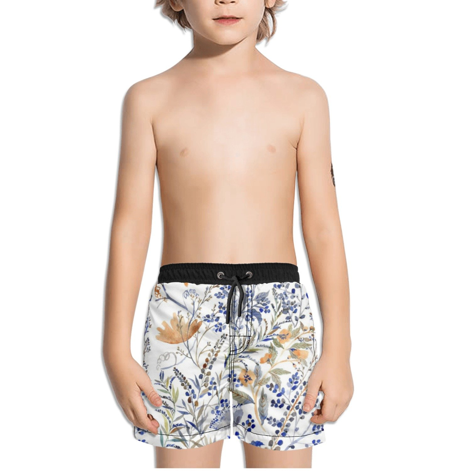 Ouxioaz Boys Swim Trunk Floral Watercolor Leaves Beach Board Shorts