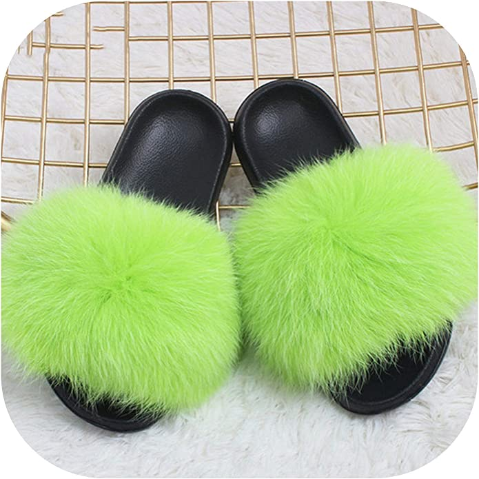 Fox Hair Slippers Lady Flip Flop Slides Summer Beach Fox Fur Sandals Plus Shoes,Rose Red,6.5