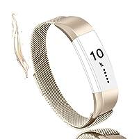Vancle Armband für Fitbit Alta HR und Fitbit Alta, Verstellbarer Metall Edelstahl Milanaise Ersatz Band mit Magnetverschluss Verschluss für Fitbit Alta HR 2017 / Fitbit Alta 2016