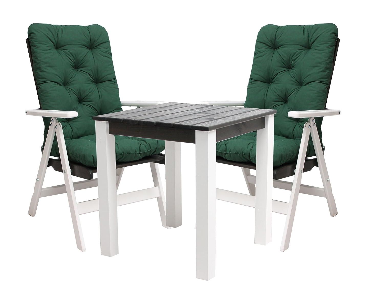 Ambientehome 90534 Balkonset Bistroset verstellbarer Klappstuhl Hochlehner Stranda weiß/taupe inkl. Kissen grün stabiler 67x67 cm Tisch 5-teiliges Set