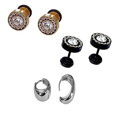 9c654c536 Buy Chooz Designer Studio Enamel Kaju Bali, Round Diamond Black Stud and  Barbell Dumbbell Black Gold Earrings for Men - Pack of 3 Online at Low  Prices in ...