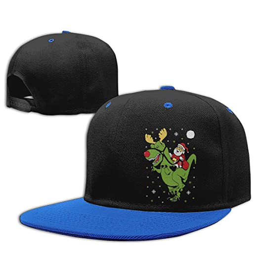 074d102a7c4 Amazon.com  Boys  and Girls  Adjustable Hip Hop Baseball Hat T-Rex Santa  Ride Funny Ugly Christmas Cotton Sun Cap Blue  Clothing