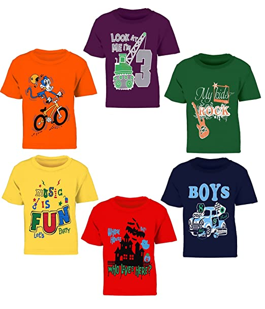 Kiddeo Boy's Cotton T-Shirt - Pack of 6 Boys' T-Shirts at amazon