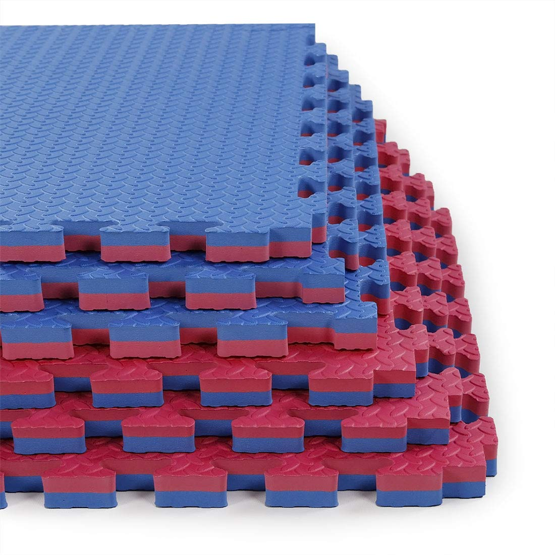 Clevr Reversible 1'' Thick Interlocking EVA Gym Foam Floor Mat Tiles (24'' x 24''), Protective Flooring for Gym Equipment, 1 Year Limited Warranty, Steel Pattern,12 pcs, 48 sqft, Blue/Red