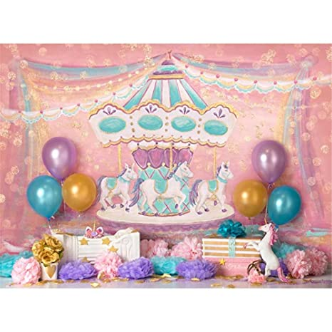 Photography Background 7x5 Pink Merry Go Round Birthday Backdrop For Kids Unicorn Gold