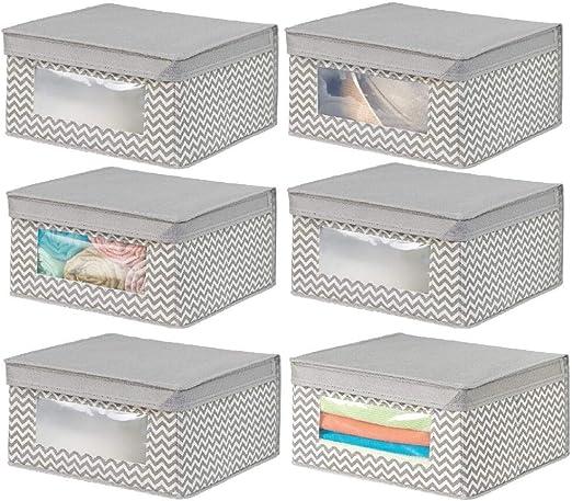 mDesign Juego de 6 cajas de tela apilables para guardar ropa y más ...