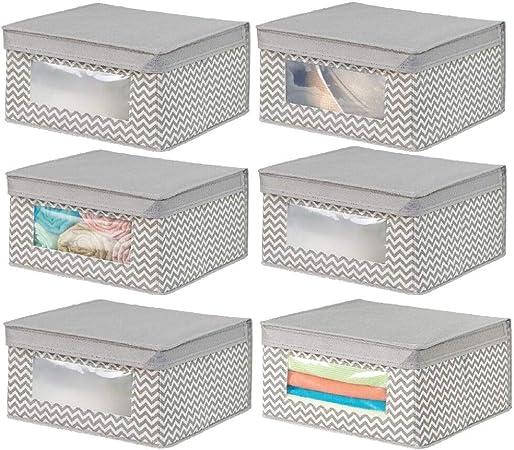mDesign Juego de 6 cajas de tela apilables para guardar ropa y más – Cajas con tapa