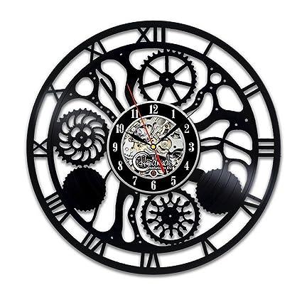 GuoEY Reloj de Pared Digital de Moderno diseño en Negro Ruedas dentadas Steampunk Relojes Colgantes Decorativos
