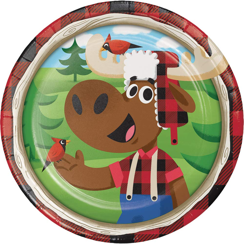 Club Pack of 96 Green and Brown ''Lum Bear Jack'' Luncheon Plates 6.8''