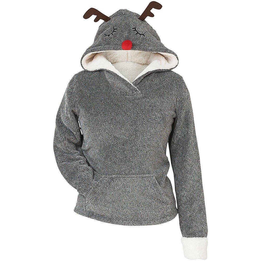 Love to Sleep Cute Novelty Christmas Reindeer Ears Womens Super Soft Fleece Hooded Loungewear Top