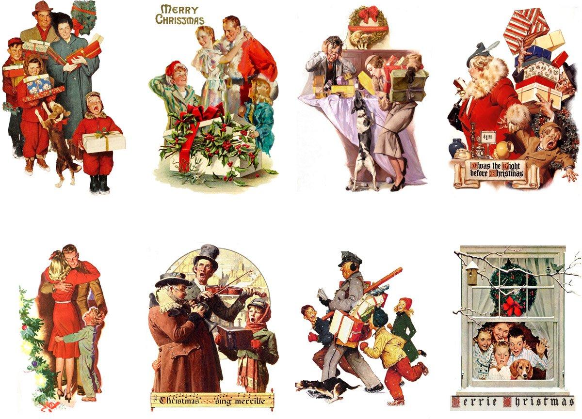 Stickers (8pics 2.5x3.5ea) Vintage Christmas Happy Family FLONZ Craft