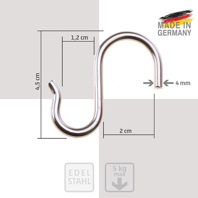 Metallhaken F/ür Schrank//K/üche//Bad//Abstellraum//B/üro Easy-topbuy 10 St/ück Edelstahlhaken S Haken Zum Aufh/ängen