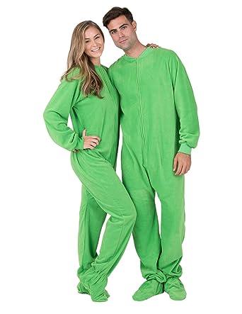 Footed Pajamas - Emerald Green Adult Fleece - Extra Large