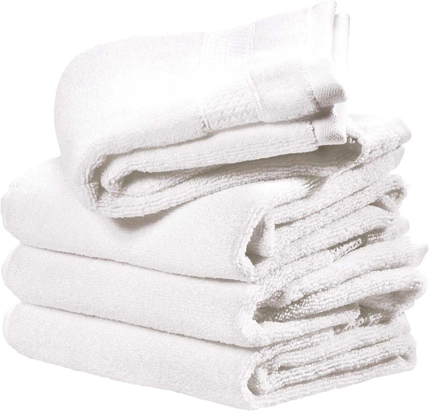 iDesign Spa Hand Towel with Hanging Loop, 100% Cotton Soft Absorbent Machine Washable Towel for Bathroom, Shower, Tub - Set of 4, White