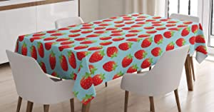 Ambesonne Strawberry Tablecloth, Romantic Vintage Print with Strawberries and Polka Dots, Rectangular Table Cover for Dining Room Kitchen Decor, 60