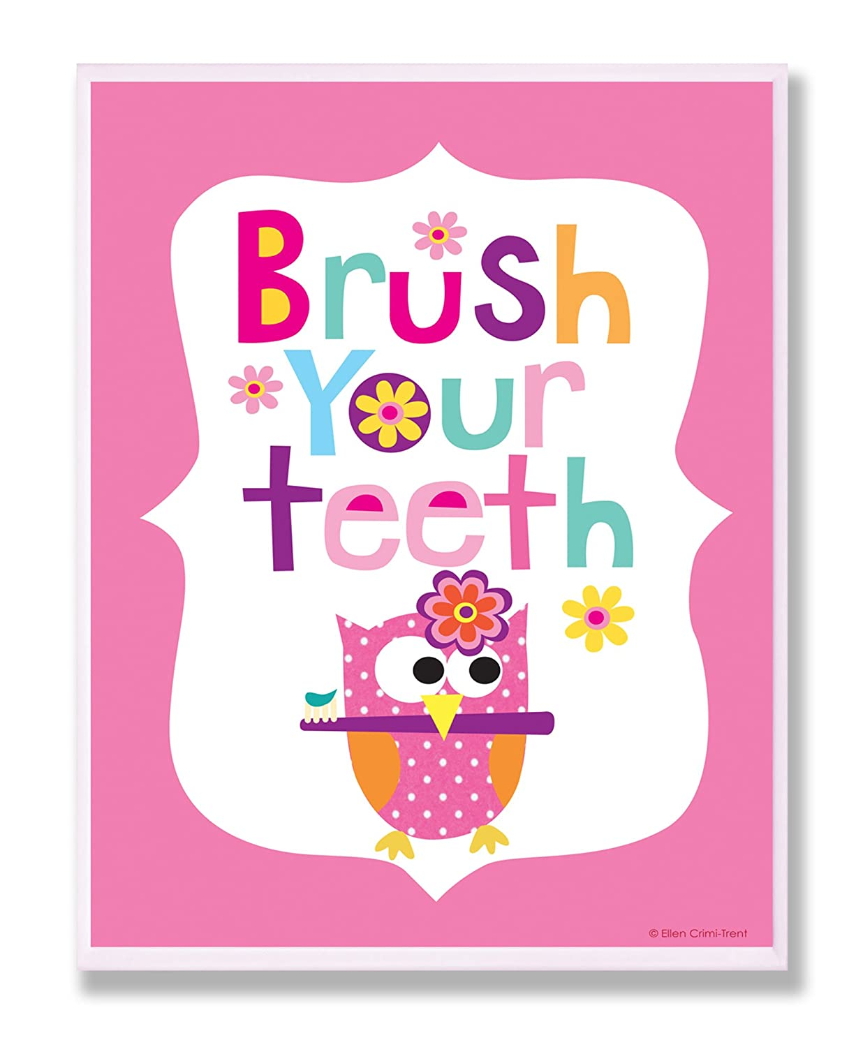 The Kids Room by Stupell Brush Your Teeth with Owl on Pink Back Background Rectangle Wall Plaque