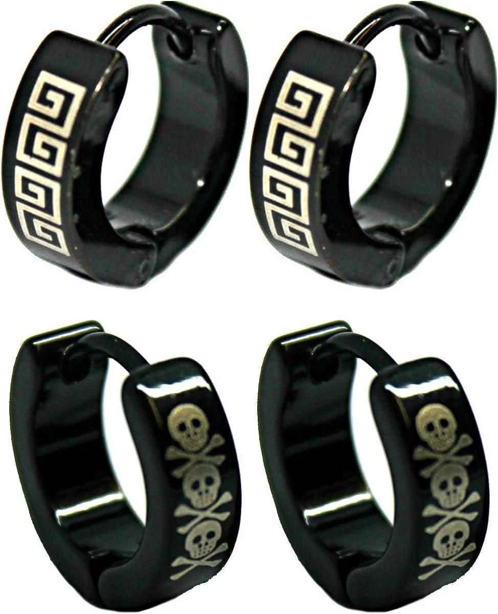 Vonchic 2/paires noir T/ête de mort grec et logo Boucles doreilles cr/éoles/ /Acier Inoxydable/ /13/mm 4/mm