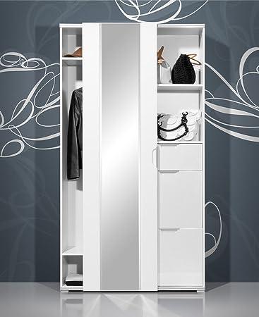 Garderobenschrank in Hochglanz weiß mit Schiebetür, ausziehb ...