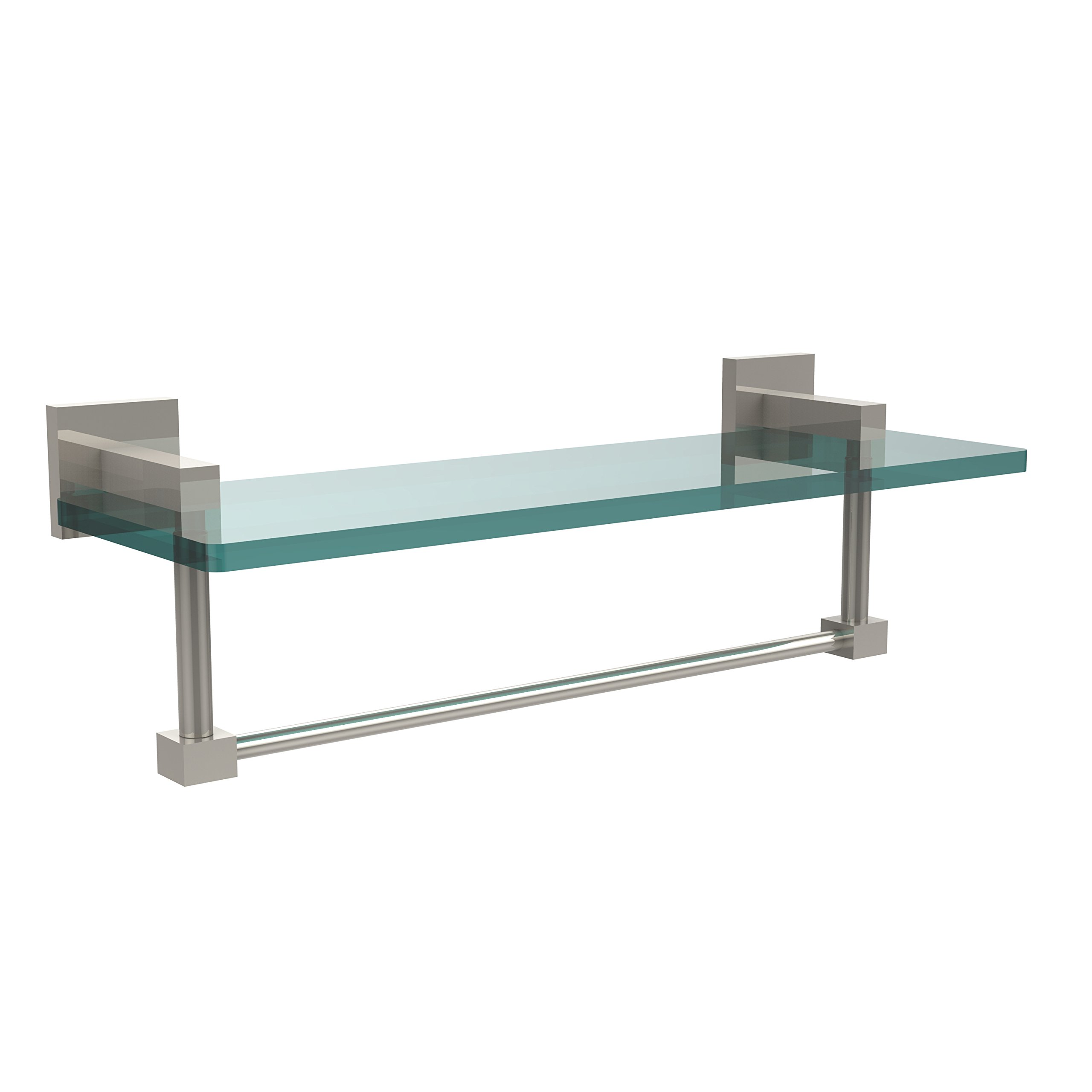 Allld|#Allied Brass MT-1-16TB-PNI Montero Collection 16 Inch Glass Vanity Shelf with Integrated Towel Bar,