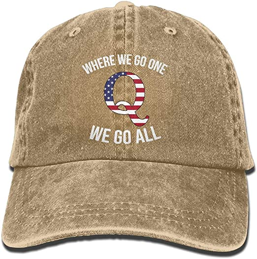 Q Anon Where We Go One We Go All Vintage Washed Dyed Dad Hat Adjustable Baseball Hat /…