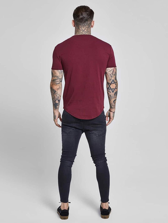 Sik Silk Hombre Hem curva Logo Gimnasio de la camiseta, Rojo ...
