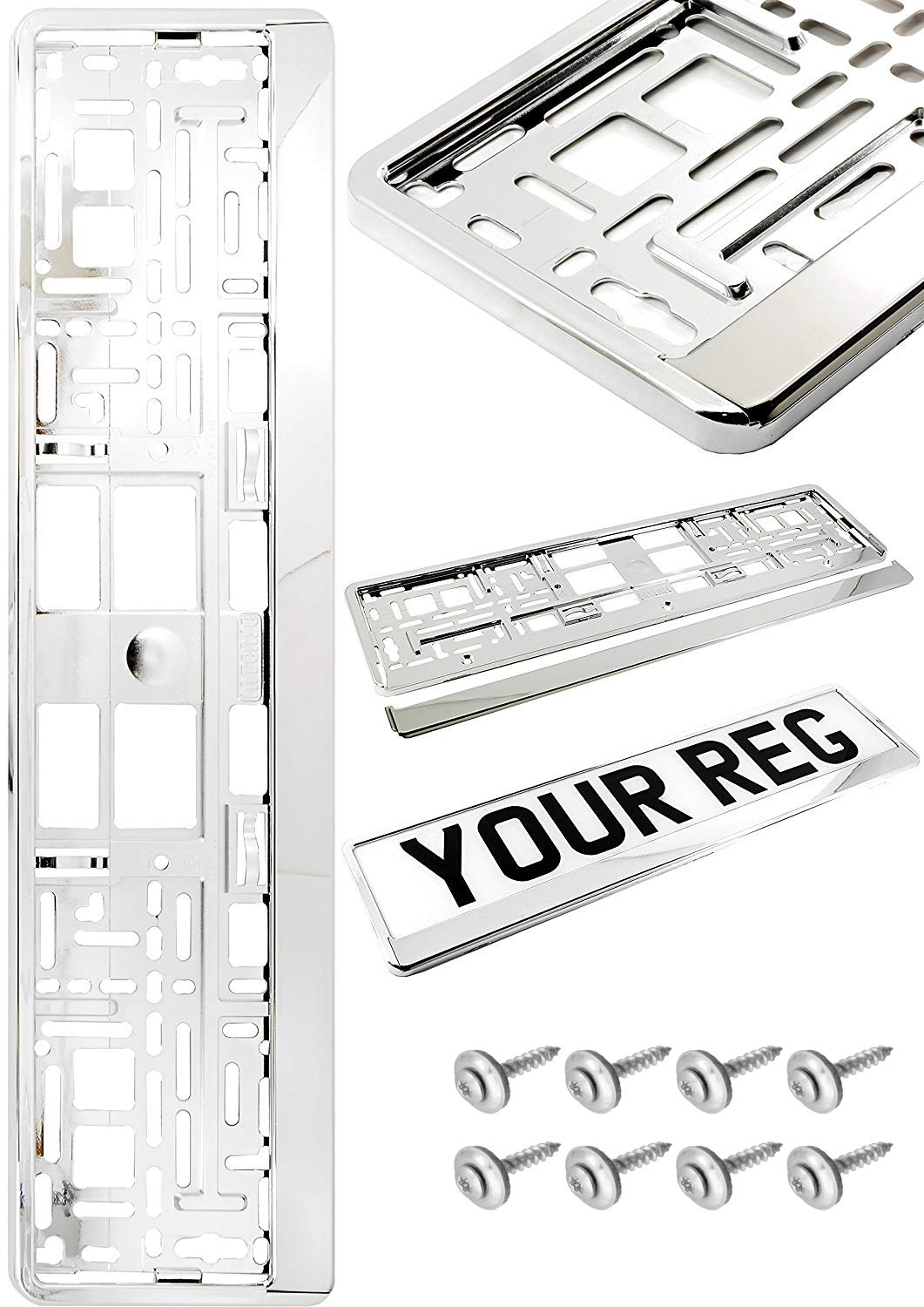 2x CHROME NUMBER PLATE SURROUND Holder with your desired text label Advertisements