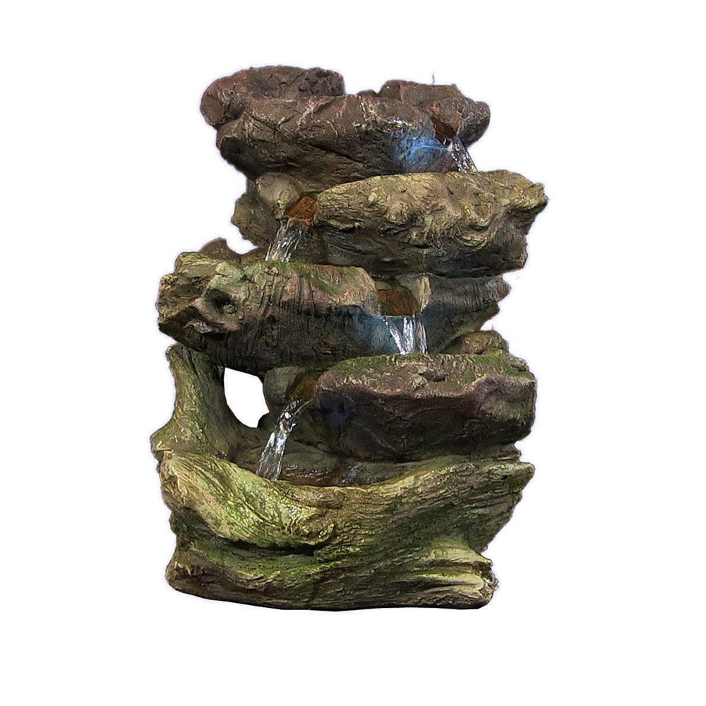 Sunnydaze 5-Step Rock Falls Tabletop Fountain with LED Lights, 14 Inch Sunnydaze Decor 1506-34112