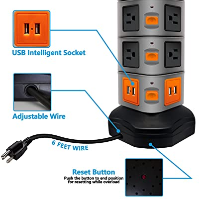 Surge Protector Power Strip 14 Outlets 4 USB// Rotating Tower// 6FT Wire Extension