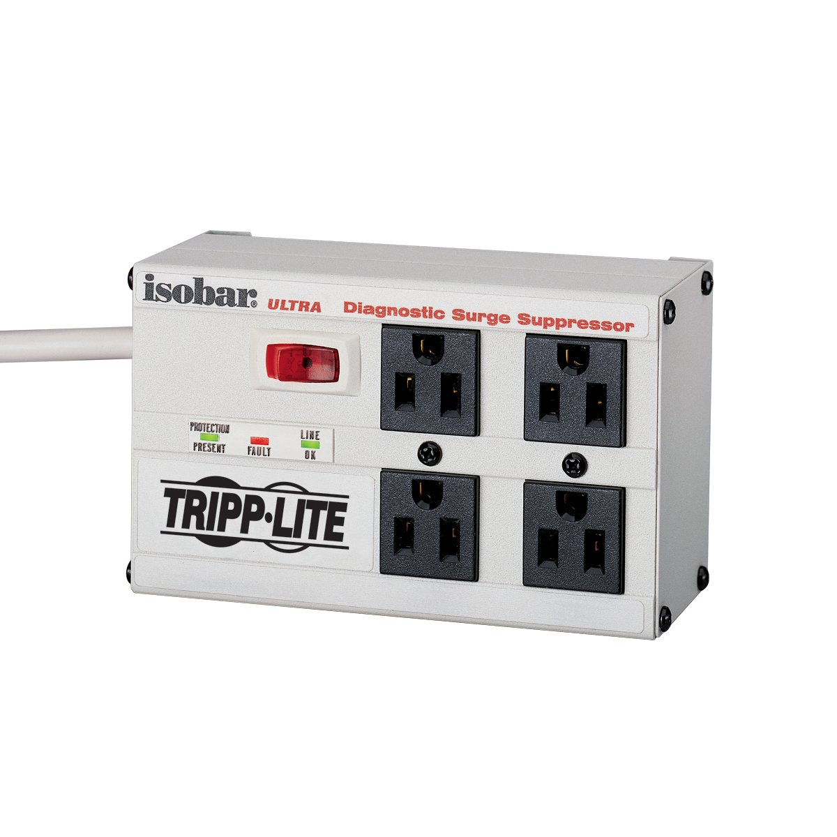 Tripp Lite Isobar 4 Outlet Surge Protector Power Strip Switch Wiring1 Diagram Diagosis 6ft Cord Right Angle Plug Metal Lifetime Limited Warranty 50000 Insurance