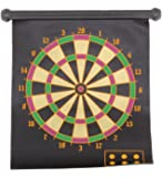 Dart Board Game Roll-Up Magnetic 2 Sided Dartboard Bullseye Target Plus 6 Child Safe Darts