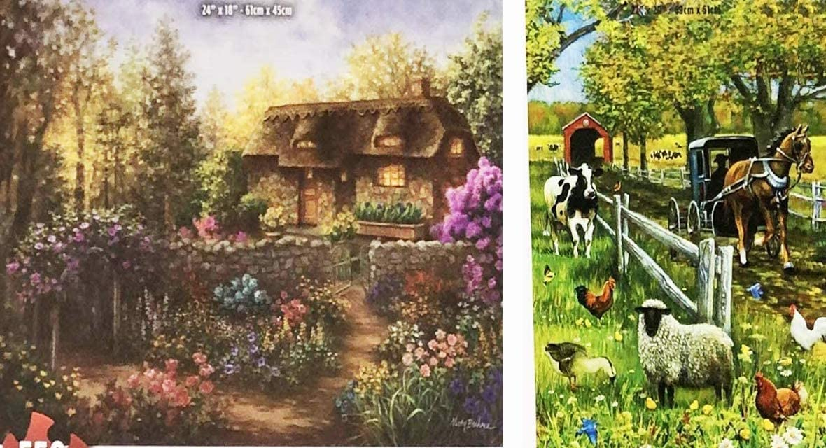 2 Pack Jigsaw Puzzles for Adults 1000 Piece of J Charles Covered Bridge and Buggy 3 Plus 550 Piece Nicky Boehme Cottage Garden in Full Bloom Jigsaw Puzzles.