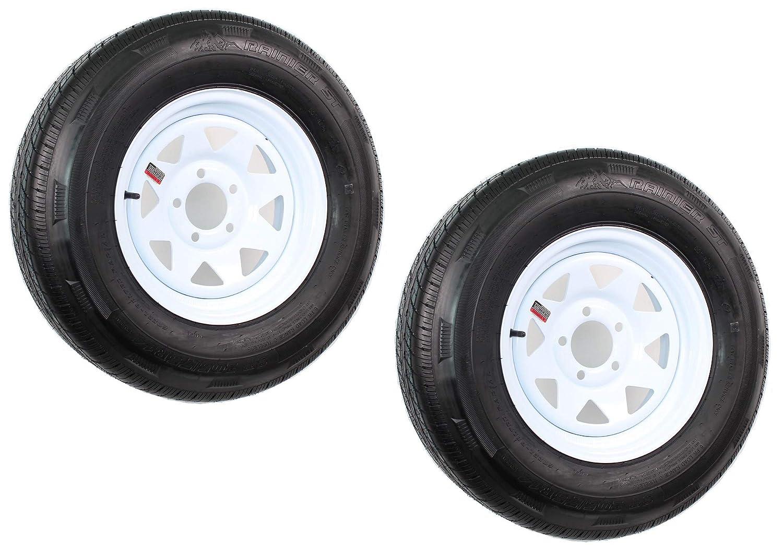 2-Pack Mounted Trailer Tire On Rim ST205//75R14D 14X5.5 5 on 4.5 White Spoke