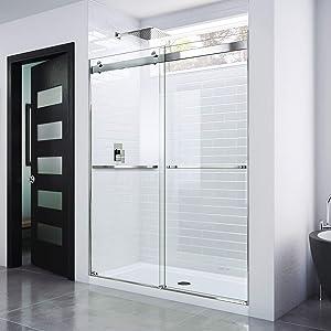 DreamLine Essence 44-48 in. W x 76 in. H Frameless Bypass Shower Door in Chrome, SHDR-6348760-01