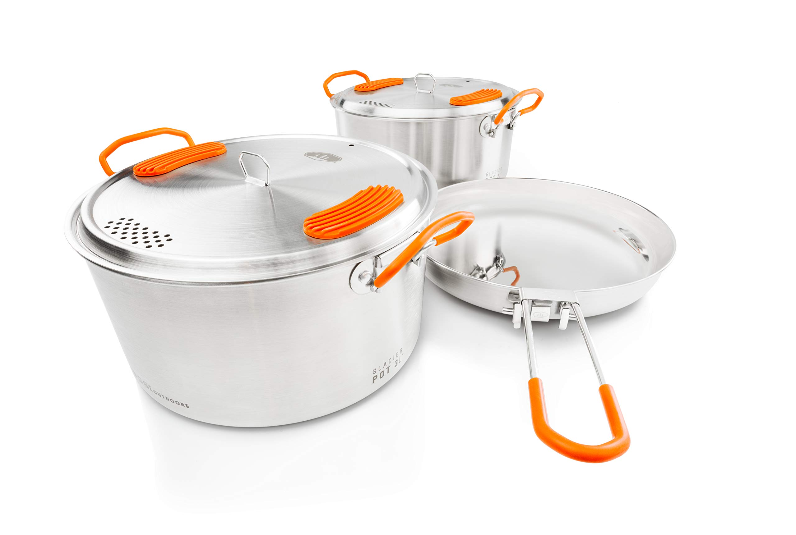 GSI Outdoors Glacier Stainless Steel Base Camper - Medium - 3 Pieces Cookset - Compact, Durable Pot Pan for Camping by GSI Outdoors