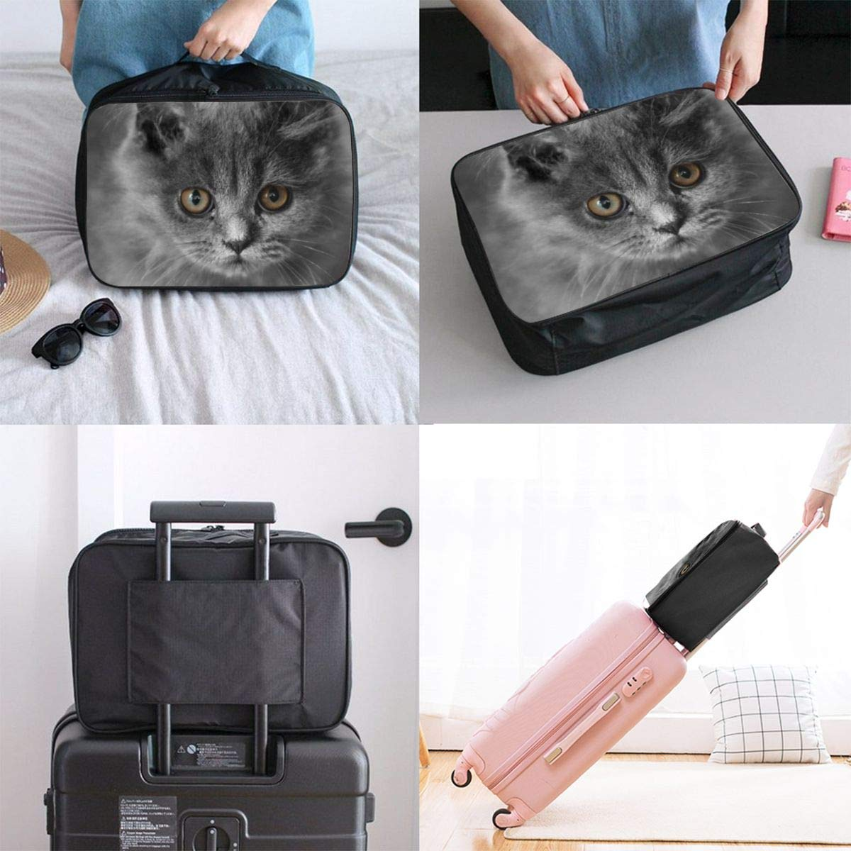 ADGAI Cats Animals Kittens Canvas Travel Weekender Bag,Fashion Custom Lightweight Large Capacity Portable Luggage Bag,Suitcase Trolley Bag