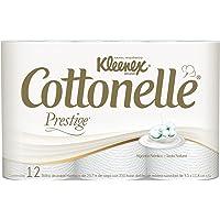 Kleenex Cottonelle Prestige Papel Higiénico Premium, 12 Rollos de 250 Hojas
