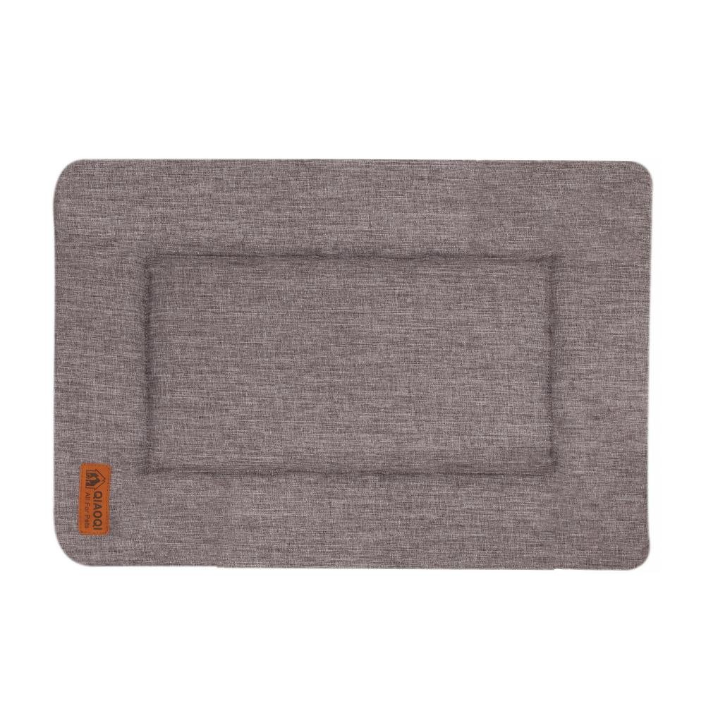 QIAOQI Dog/Cat Bed Reversible Machine Washable Pet Crate Mat Kennel Pad LinerSmall Grey