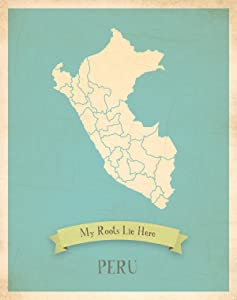 Children Inspire Design Wall Map, My Roots Peru Personalized Wall Map 11x14, Kid's Peru Map Wall Art, Wall Art Print, Nursery Decor, Nursery Wall Art