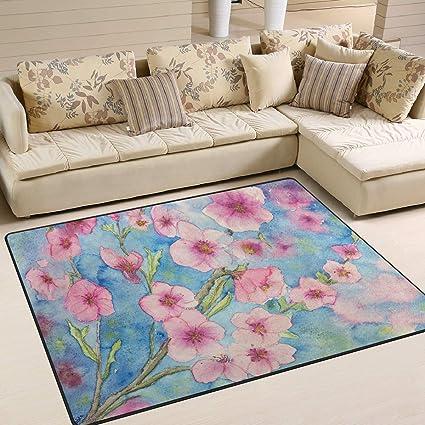 Carpette 80x58 Pouces Peinture A L Huile De Cerisier Bleu