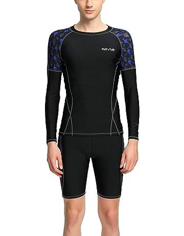 d13910814d4 Panegy Men Long Sleeve Rashguard Sets Quick Dry Two Piece Swimsuit