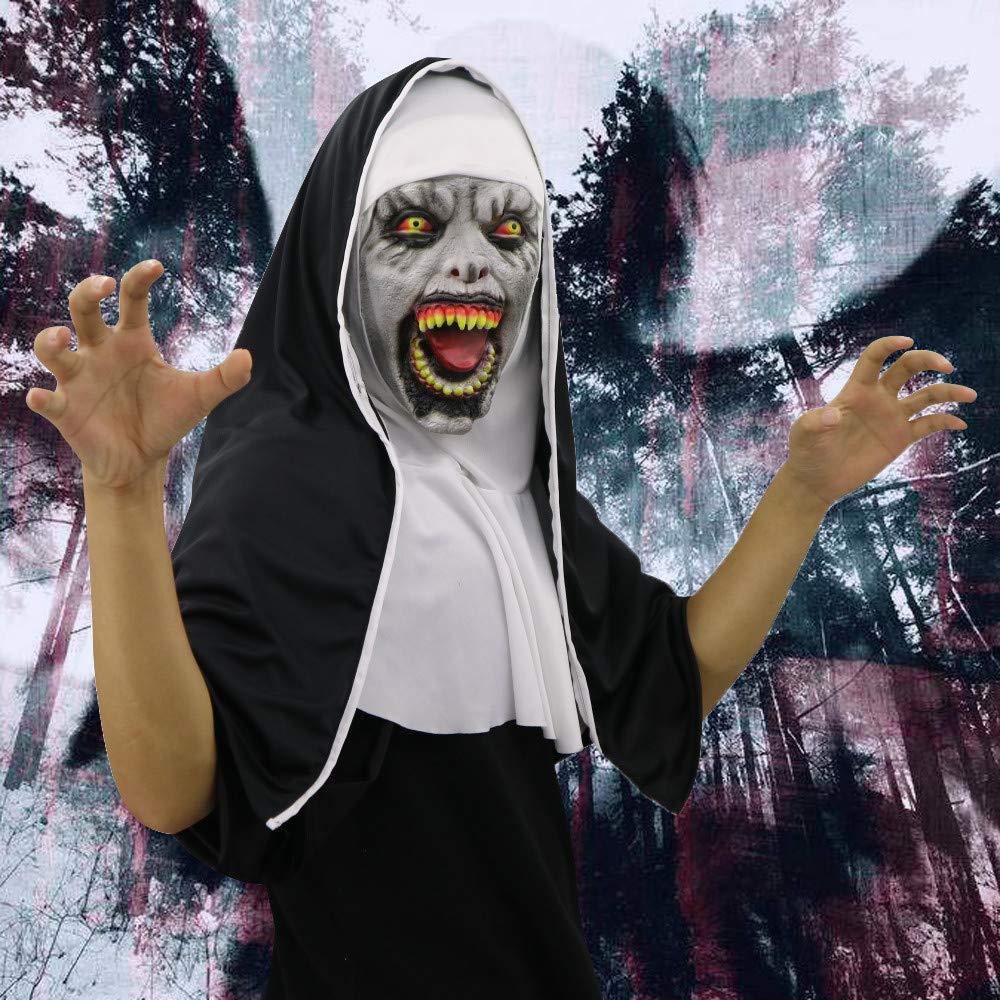 Flurries  Happy Halloween  Latex Villain Nun Devil Face Head Mask - Adult Scary Evil Demon Monster Cosplay Costume - Creepy Horror Hood Helmet Party Decoration Props - Trick Or Treat (B)