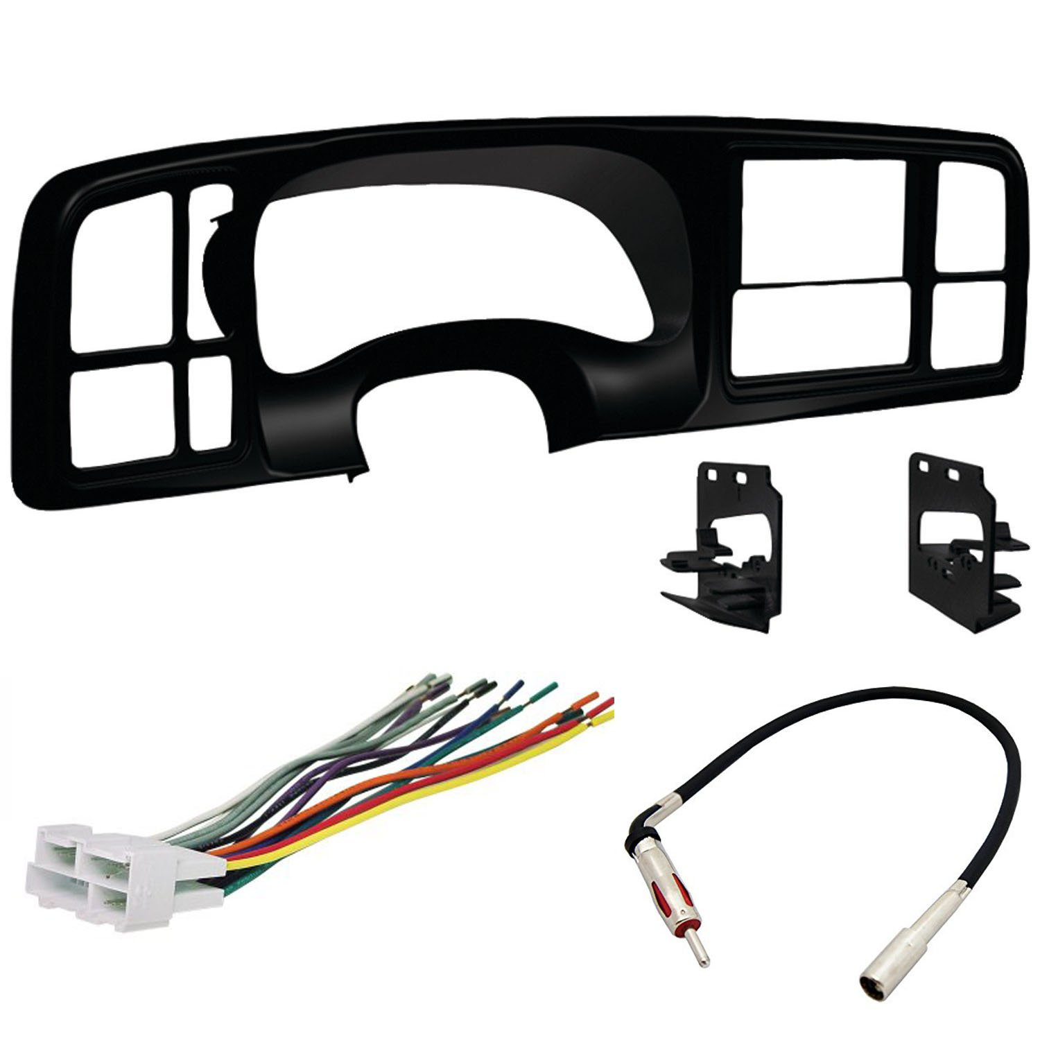Double DIN Dash Kit - Wiring Harness - Radio Antenna Adapter for 1999 - 2002 GM Full-Size Trucks/SUV's