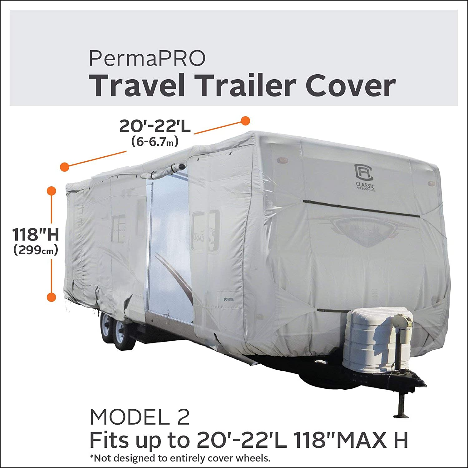 Renewed Classic Accessories OverDrive PermaPro Heavy Duty Cover for 22 to 24 Travel Trailers
