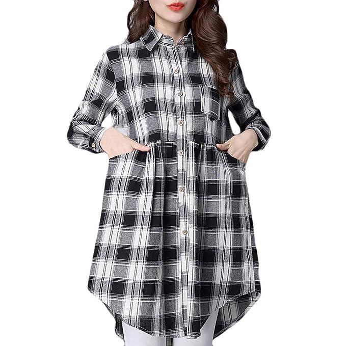 QinMM Camisa Larga a Cuadros para Mujer, Blusa de Manga Larga de Casual Tops otoño