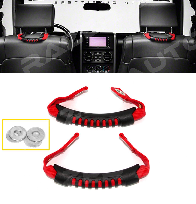 Razer Auto RED Windshield Pillar Rear Side Grab Handle - Pair for 07-17 Jeep JK Wrangler Rubicon RZHSGH-3903