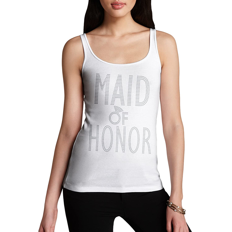 Twisted Envy Women's Wedding Maid Of Honor Rhinestone Tank Top