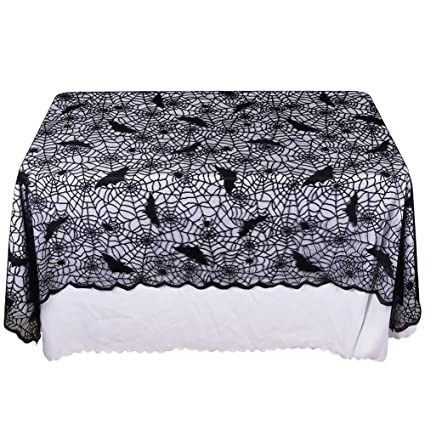 Aparty4u Halloween Spiderweb Bats Lace Tablecloth Square, Black Bats Lace  Table Cloth Cover 60x84 Halloween
