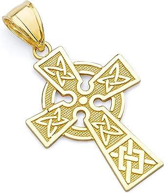 14k Yellow Gold Irish Cross Pendant