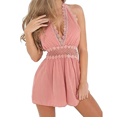 9c00ee18e1f WSSB Womens Summer Sleeveless Beach Jumpsuit Ladies Holiday Short Mini  Party Dress