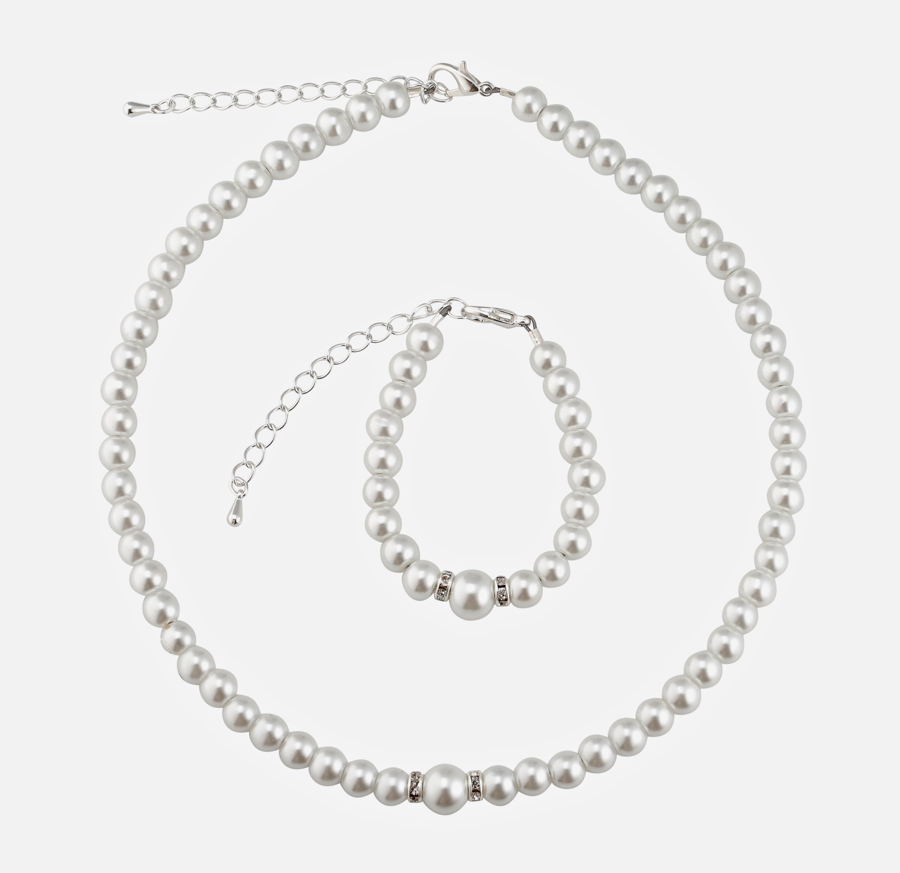 Crystal Dream Elegant White Simulated Pearl Infant Girl Necklace and Bracelet Stylish Gift Set (GS-P-W-M)